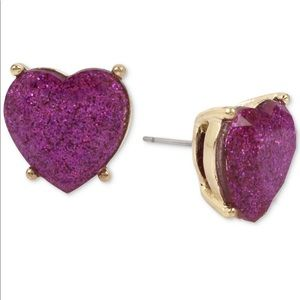 Betsey Johnson Purple Heart Stud Earrings